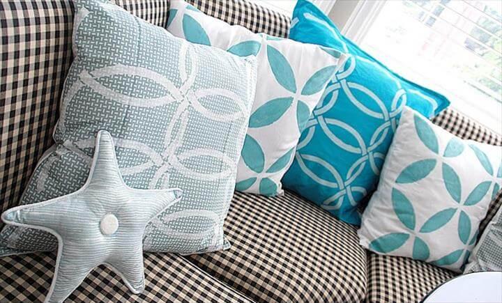 stenciled decorative pillows