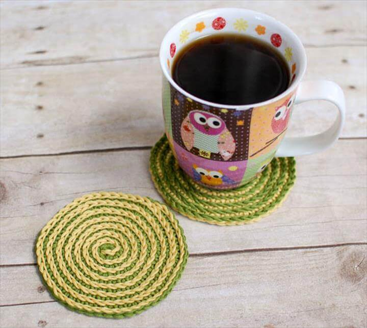 Summer Spiral Crochet Coasters Pattern