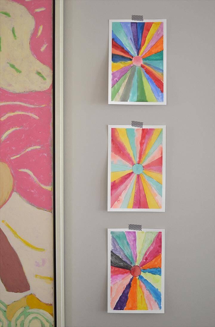 DIY: sunburst paintings