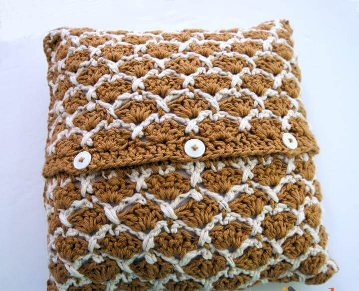Sunshine Lattice PIllow - free crochet pattern