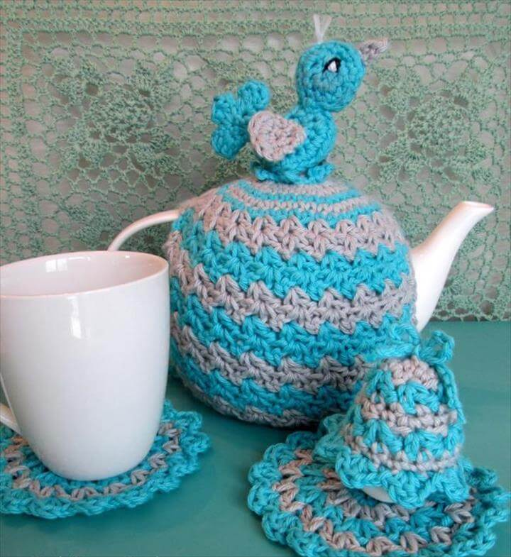 Tea Cosy, Coaster, Egg Cosy Set with Bir FREE Crochet Pattern