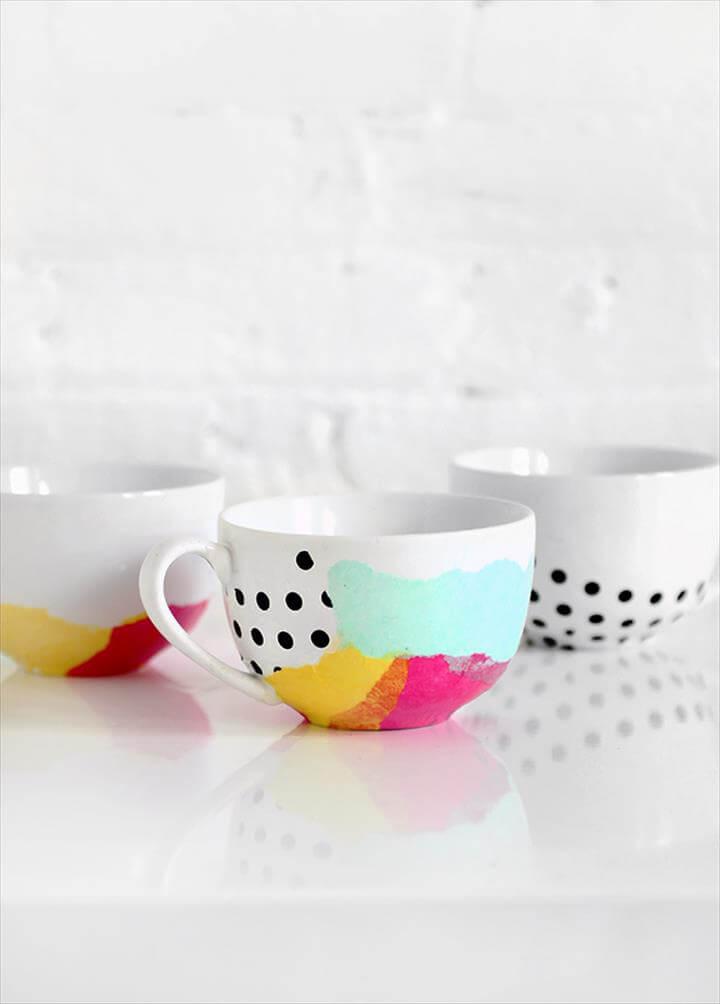 Tissue paper watercolor mugs using Dishwasher Safe Mod Podge