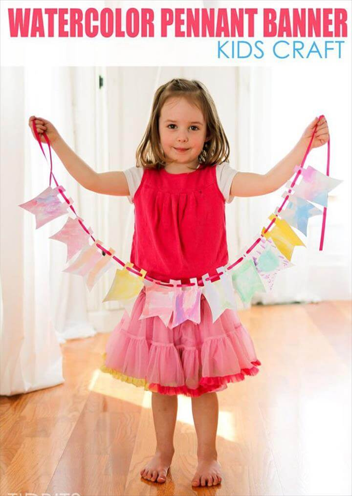 Watercolor Banner | DIY Kids Crafts You Can Make in Under an Hour