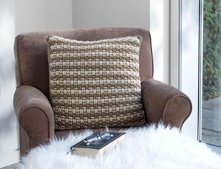 Woven Look Crochet Pillow
