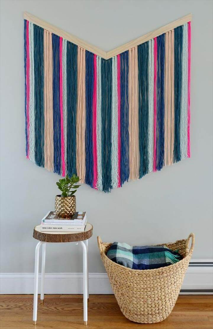 Easy DIY Chevron Yarn Wall Hanging