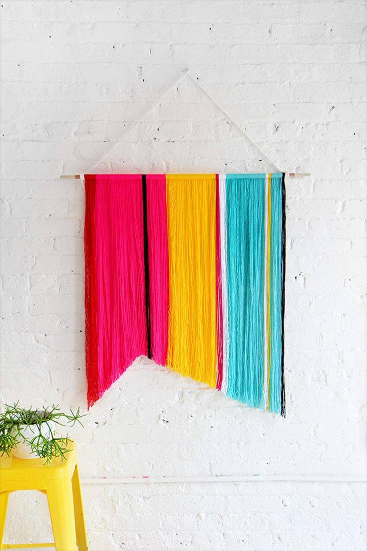 Strategically hang yarn to create a colorful display.