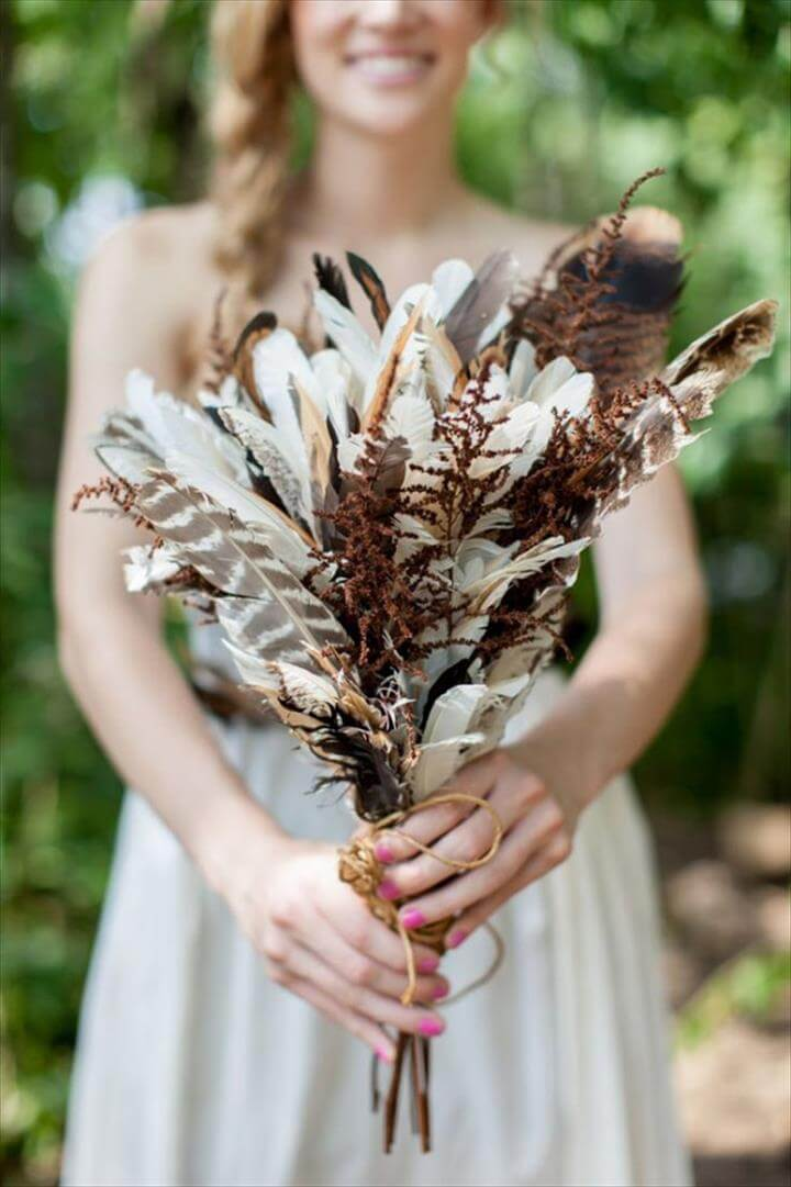 diy feather bridal bouquets