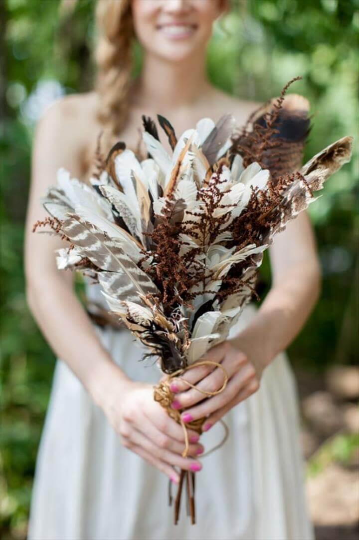 diy feather bridal bouquets