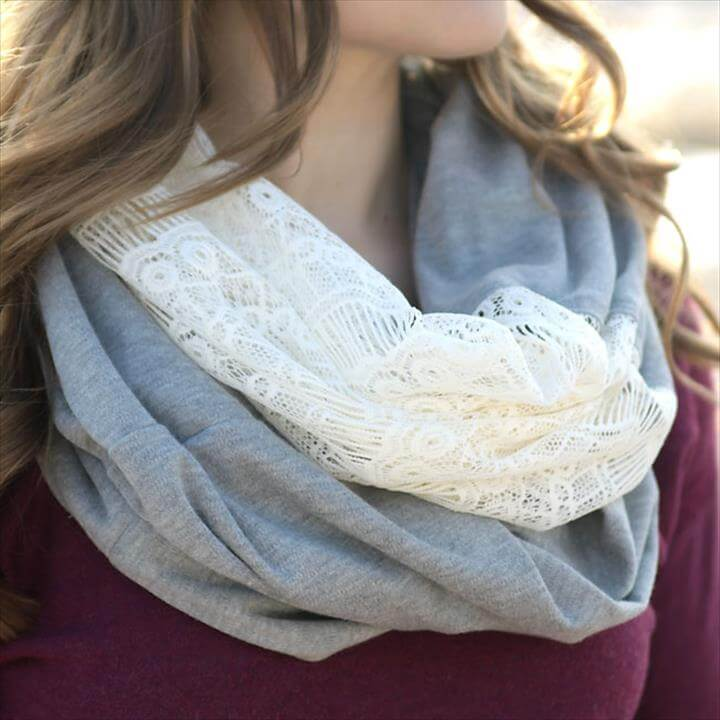 soft lace & knit infinity scarf with this