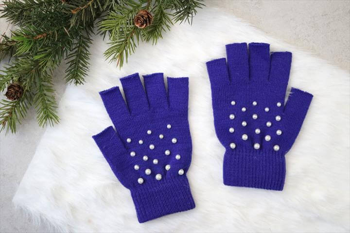 DIY Pearl-Studded Fingerless Gloves