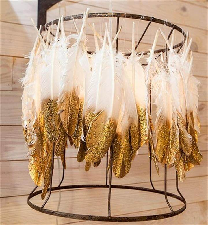 DIY-Gold Dipped Feather Chandlier.