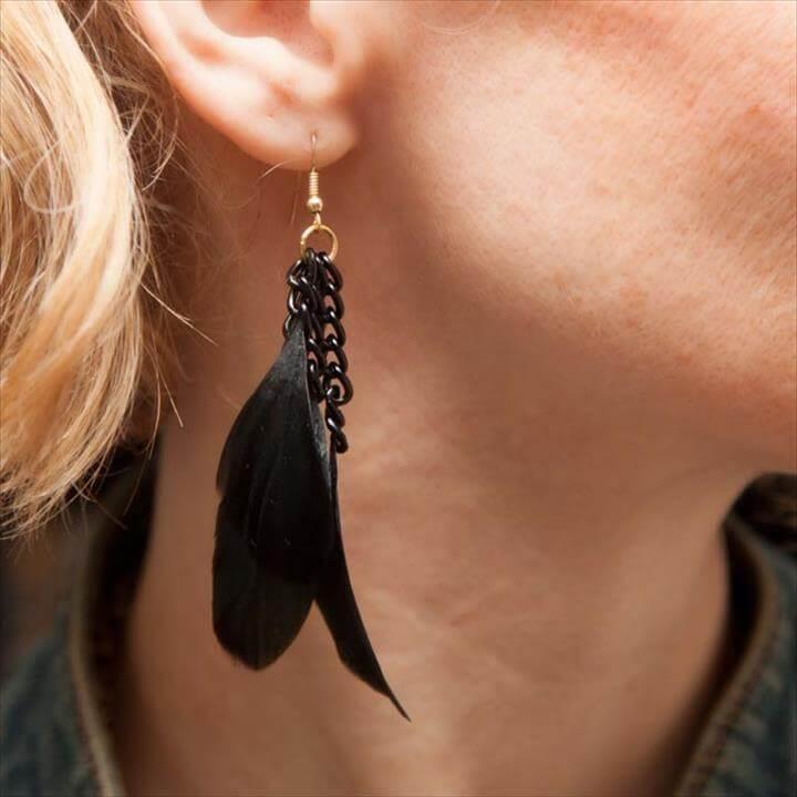 DIY FEATHER EARRINGS DIY Feather Earrings