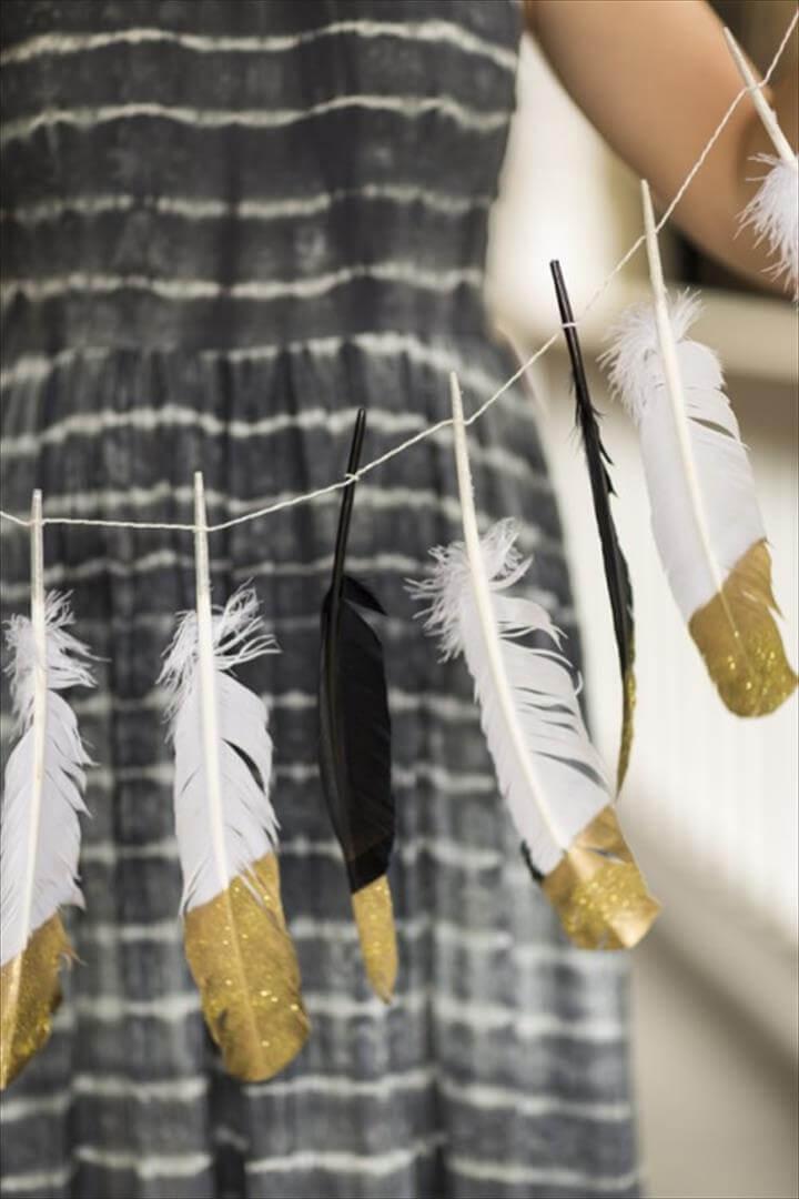 glitter feather garland