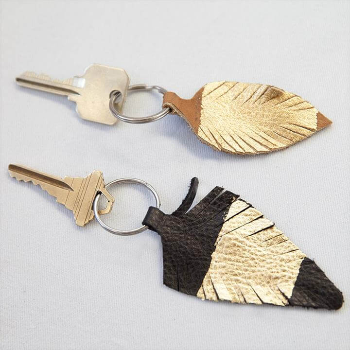 Gold-Accented Leather Feather Keychain
