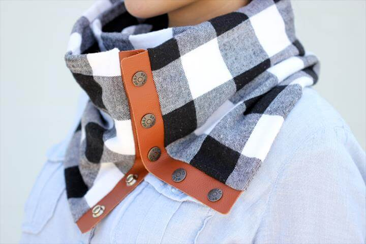 Leather + Flannel Snap Scarf Tutorial DIY
