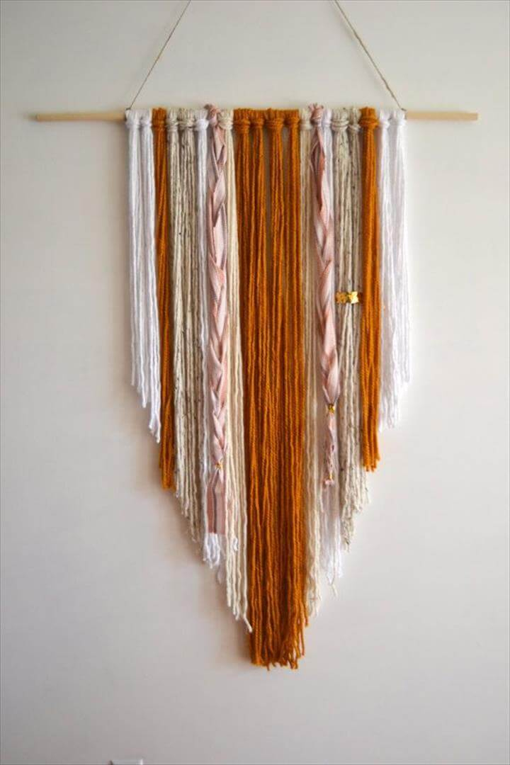 Hand knotted Woven Wall Hanging; Yarn tapestry