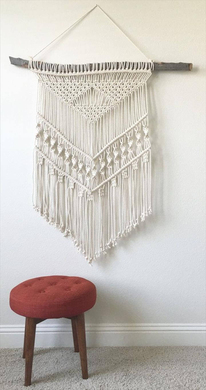 Macrame Wall Hanging on Wood
