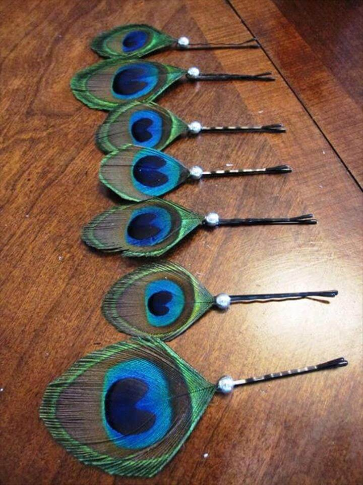 Peacock Feather Decorations — peacock feather bobby pins