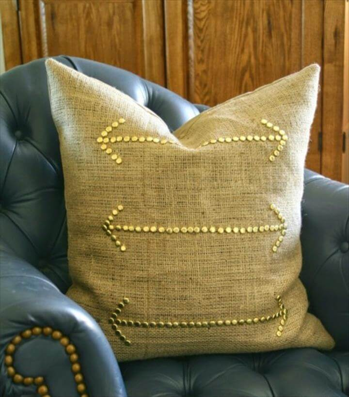 studded burlap pillow