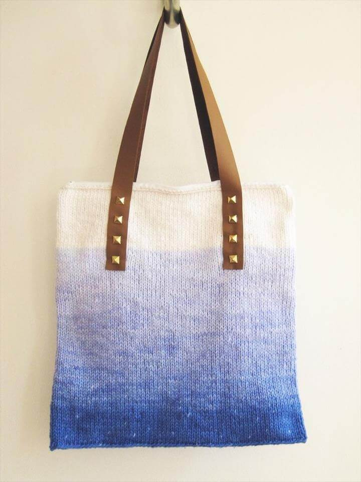 diy bag, Studded Ombre Tote Bag