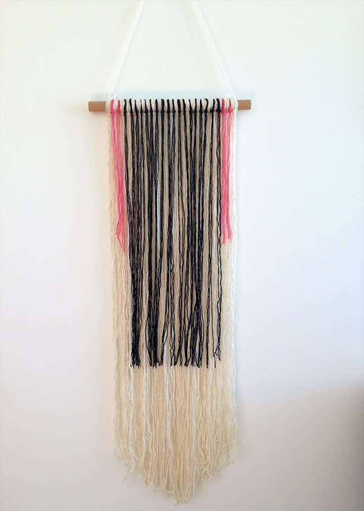 DIY Yarn Wall Hanging via Hot for Houses