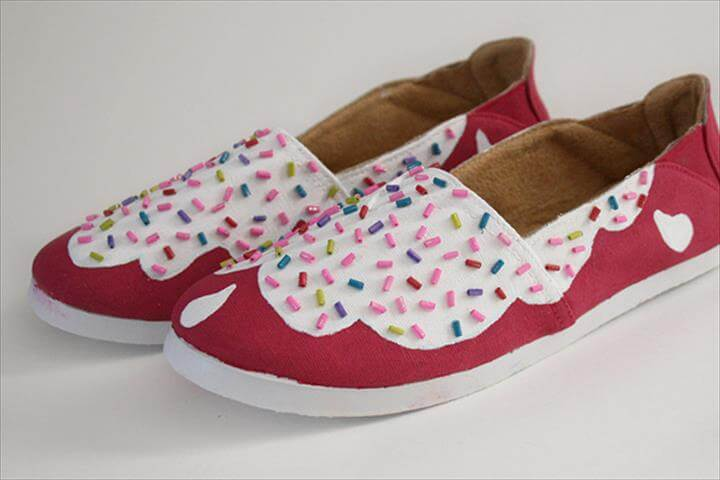 Sweet Cupcake-Inspired Girls Shoes Makeover
