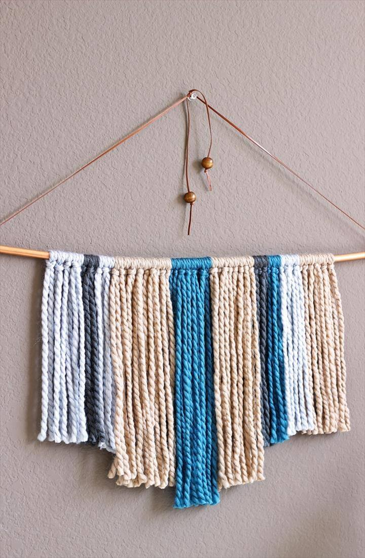 Image result for DIY Yarn Wall Hangings DIY Copper Pipe & Yarn Wall Hanging