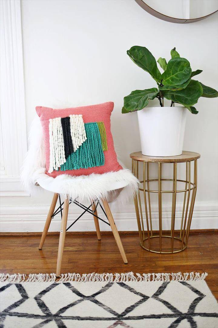 DIY Yarn Fringe Pillow