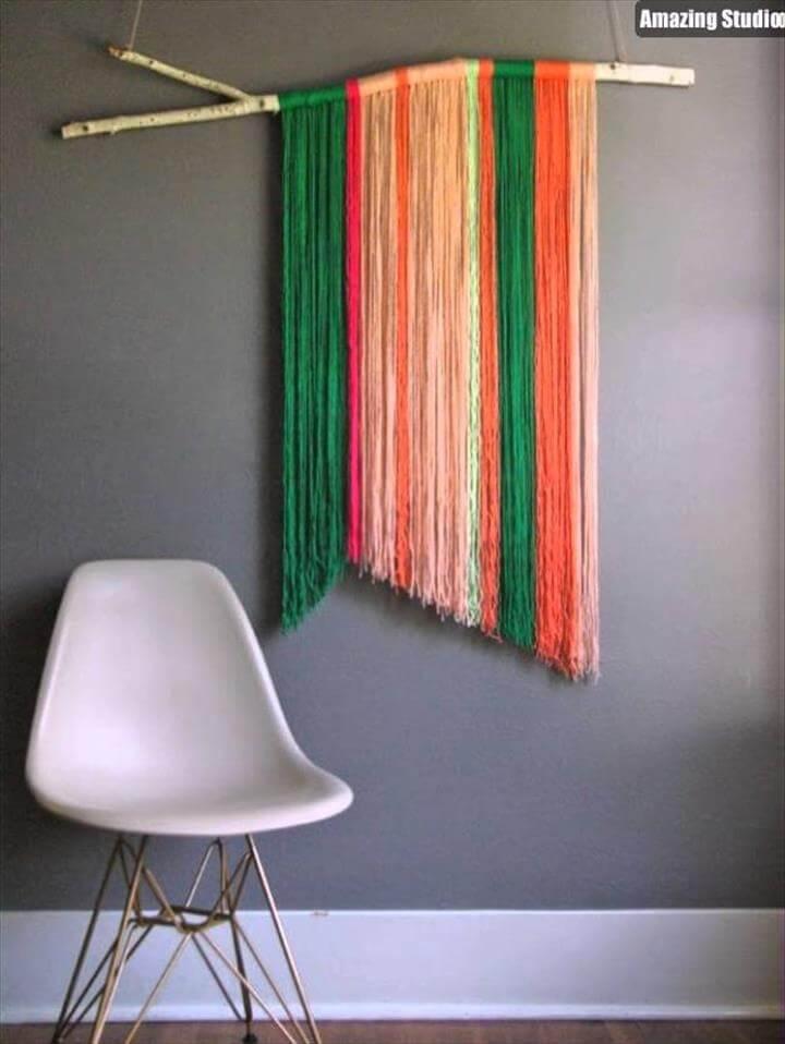 DIY Yarn Wall Hangings DIY Yarn Wall Art Hanging