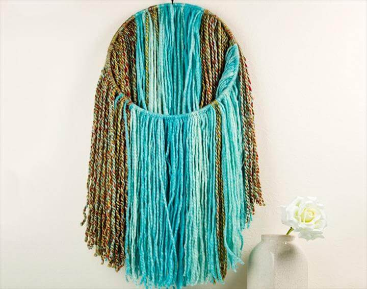 DIY Yarn Wall Decor · Fringe Yarn Wall Art