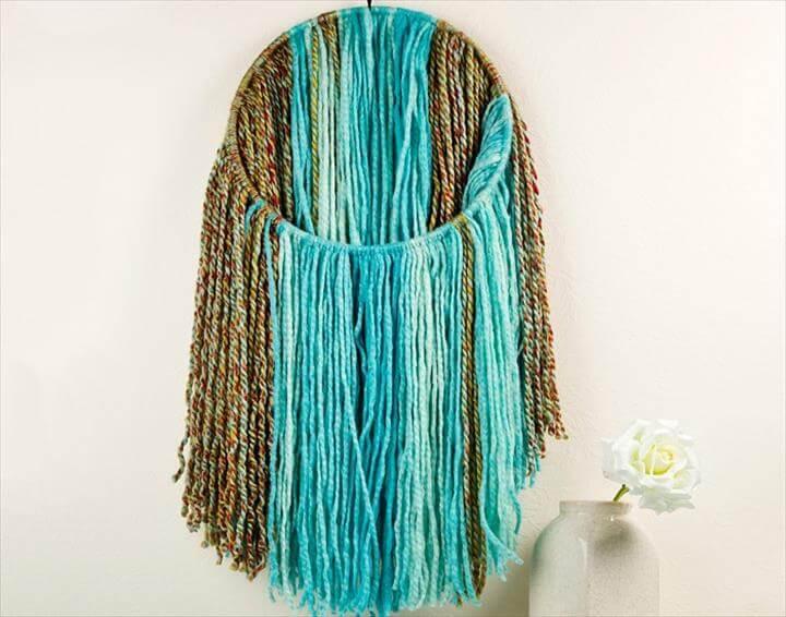DIY Yarn Wall Decor · Fringe Yarn Wall Art