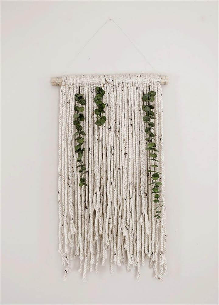 Yarn and Eucalyptus Wall Hanging:
