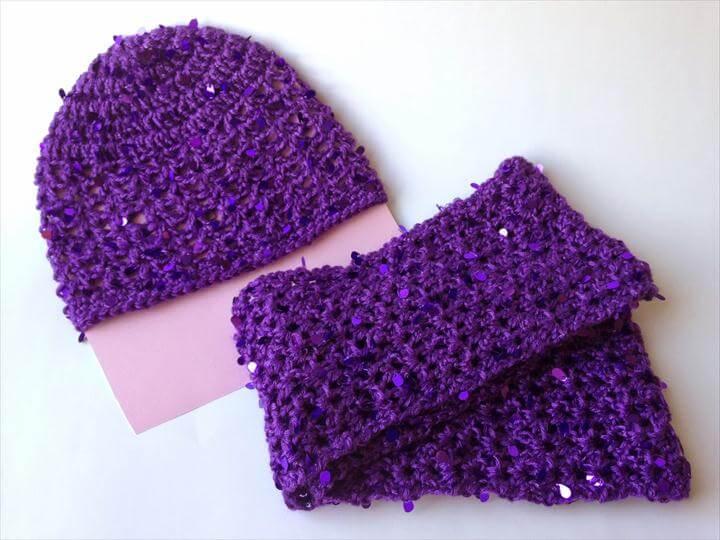 Sparkle Hat and Scarf Set: Free Child Size Crochet Pattern