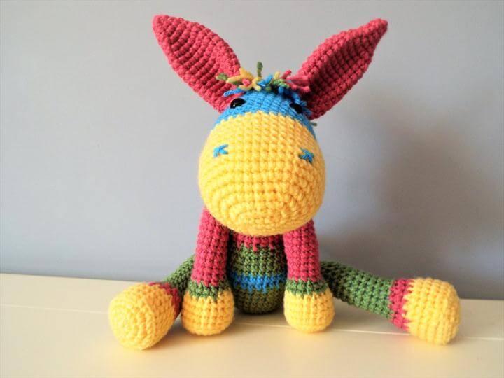Crochet colorful donkey Doll Kids Stuffed animals Baby shower Home decor Amigurumi Gift ideas Boys Girls Positive toys Happy donkey Unique