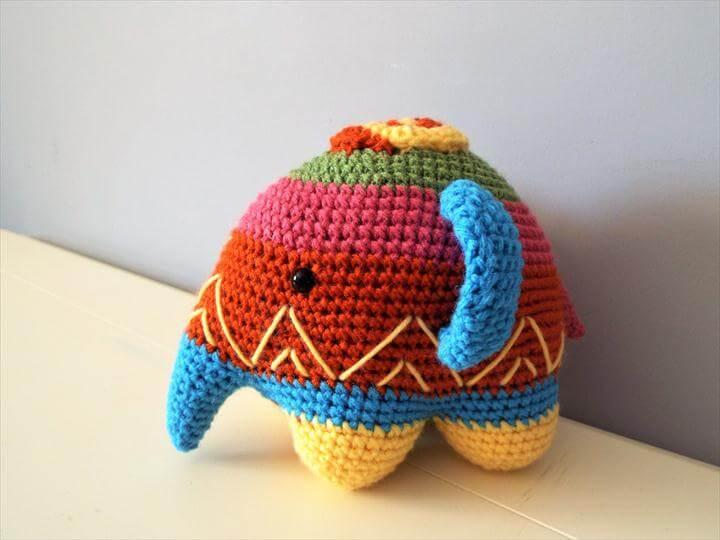 Crochet colorful elephant Amigurumi Dolls Gift Ideas Home decor Positive elephant Baby shower Kids Boys Girls Happy toys Cute elephant Toys