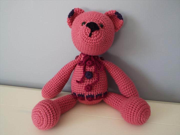 red crochet teddy bear