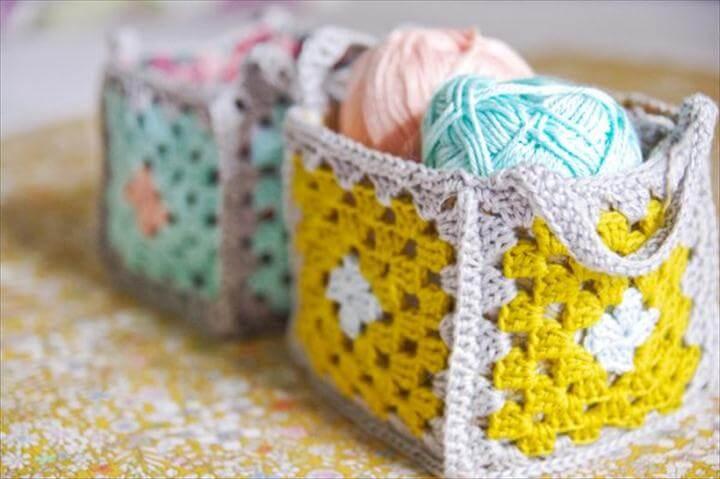crochet basket, storage basket