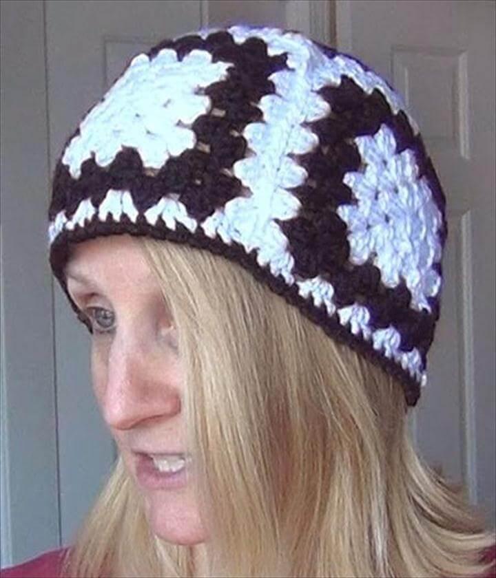 crochet granny square beany