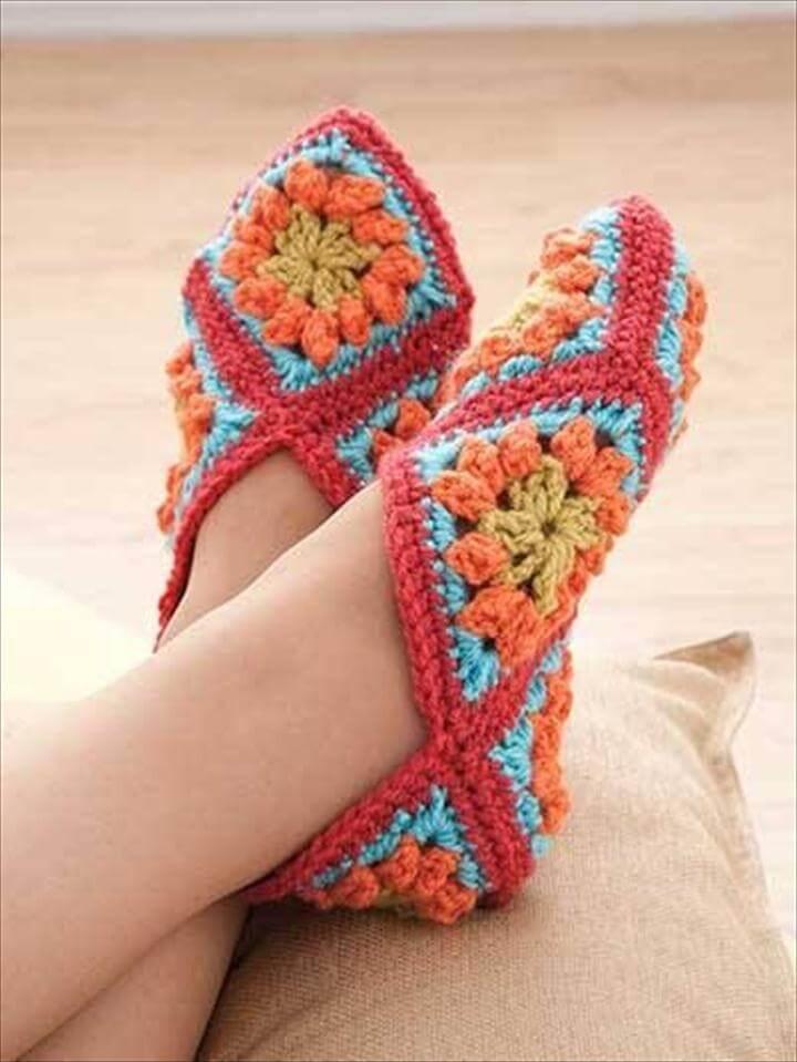 crochet granny square booties