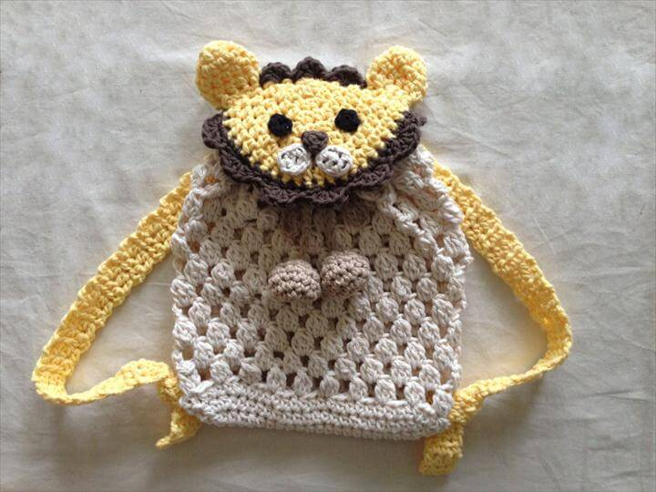 Crochet Lion Backpack for babies and kids