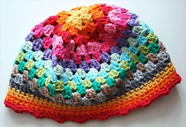 crochet rainbow beany