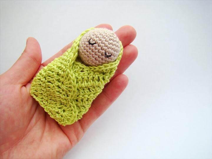 Crochet swaddle doll crochet baby shower favors baby shower gift ideas newborn gift basket handmade crochet fridge magnet crochet gift ideas