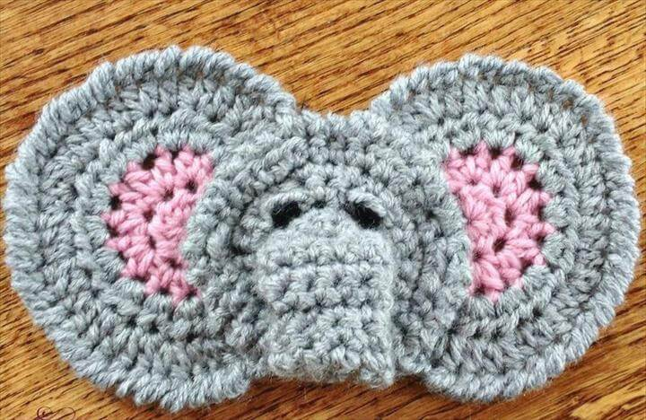 Elephant Applique Free Crochet Pattern
