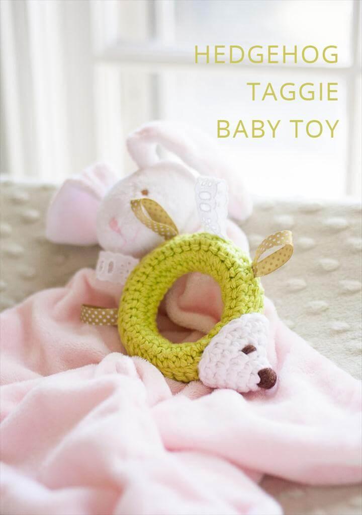 Hedgehog taggie baby toy crochet pattern