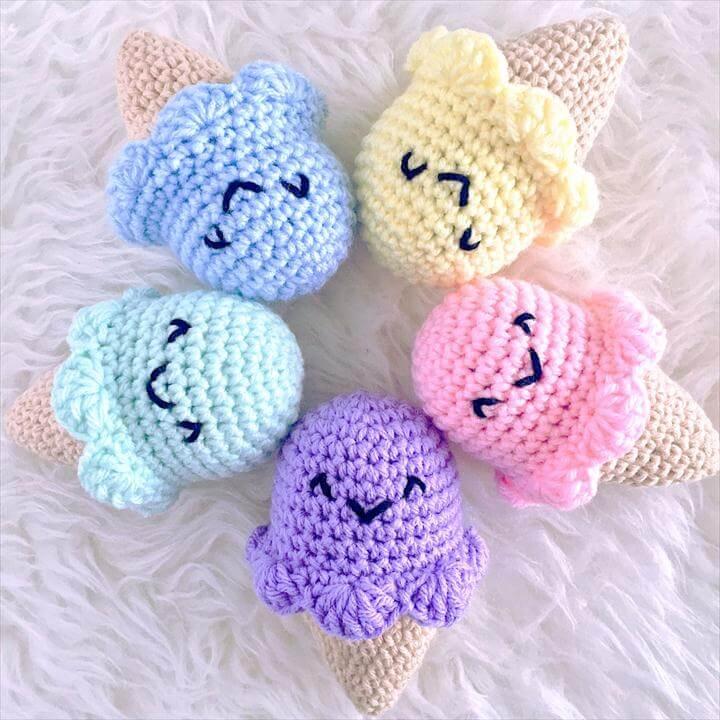 Ice Cream Dream Baby Rattle, crochet toy, baby rattle, amigurumi and kawaii baby toy, play food, ice cream toy, food toy, baby shower ideas