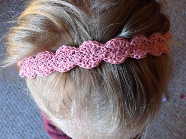 Scalloped Lace Toddler Headband Free Crochet Pattern