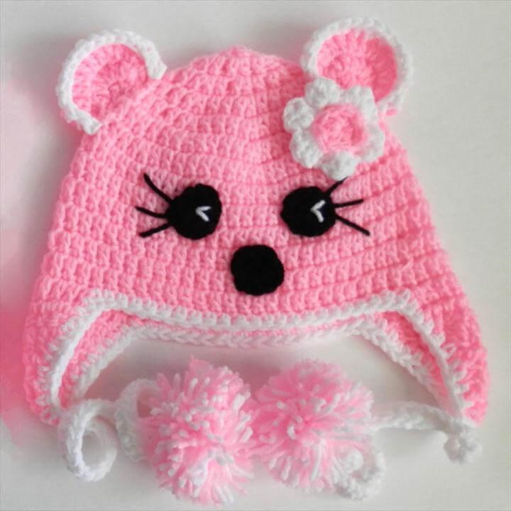 pink crochet cat hat