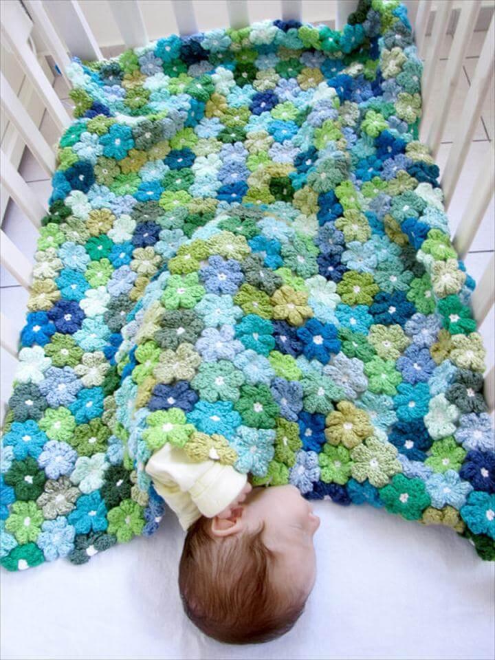 Newborn PDF Crochet Pattern - Floral Baby Blanket Pattern - Crochet Flowers Afghen Pattern - Make your own baby shower gift