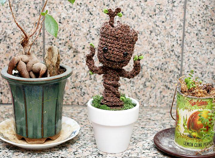 Free Crochet Pattern: Potted Baby Groot from Guardians of the Galaxy