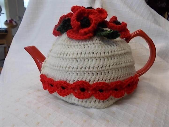 recycled crochet tea cozy